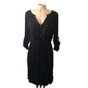 TORRID Challis Zip Front Shirt Dress Black Size2X